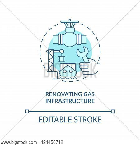 Renovating Gas Infrastructure Concept Icon. Hydrogen Promotion Tip Abstract Idea Thin Line Illustrat