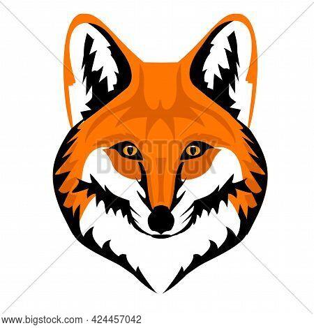 Fox Mask, Muzzle Vector, Predatory Animal, Fox Logo, Animal Drawing, Sticker With An Image Of A Fox,