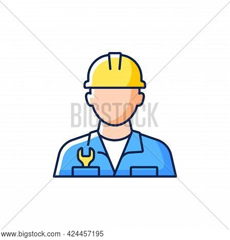 Engineer Rgb Color Icon. Isolated Vector Illustration. Fixing Ship During Cruise. Keeping Mechanisms