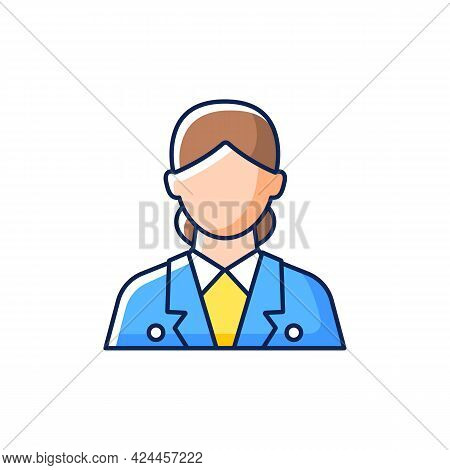Cruise Ship Hostess Rgb Color Icon. Isolated Vector Illustration. Helping Passengers During Travelin