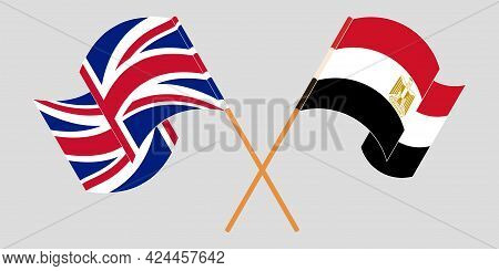Crossed And Waving Flags Of Egypt And The Uk