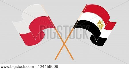 Crossed And Waving Flags Of Egypt And Poland