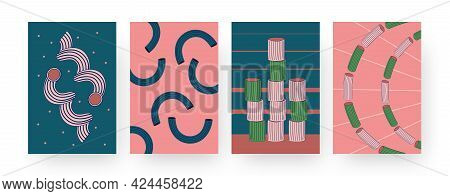 Set Of Contemporary Art Posters With Different Pasta Patterns. Vector Illustration. .collection Of A