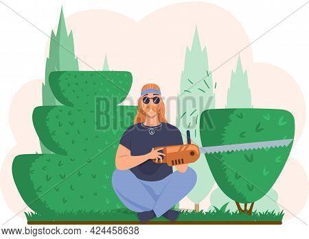 Man Holding Power Saw And Sitting In Yoga Pose On Grass. Person Cuts Bushes In Garden. Guy Works On