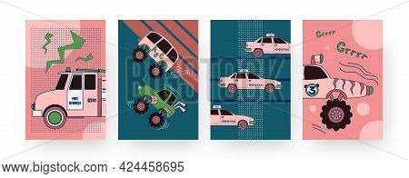 Set Of Contemporary Art Posters With Automobiles. Vector Illustration. .collection Of Fire Service,