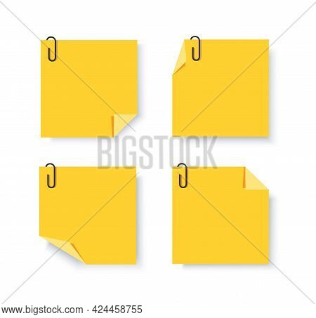 Sticky Papers With Pin Clips Memo Vector