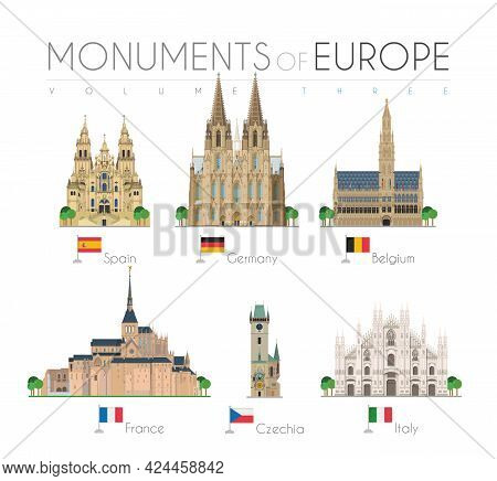 Monuments Of Europe In Cartoon Style Volume 3: Santiago De Compostela Cathedral (spain), Cologne Cat