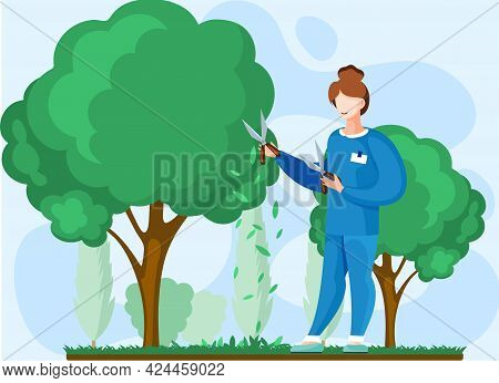 Gardener Works In Garden Woman With Scissors Cuts Big Green Tree And Shrub, Takes Care Of Plants Agr