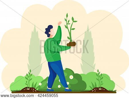 Farmer Plants Seedling. Cartoon Agricultural Worker Takes Care Of Crops, Gardener Grows Bush. Happy