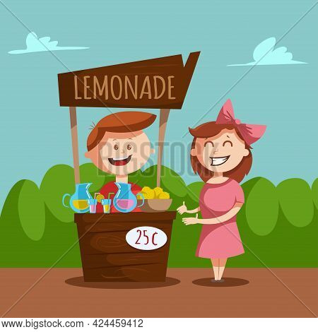 Lemonade Stand With A Pitcher And Glass Jar With Lemon Juice. Vector Cartoon Illustration Of A Boy A
