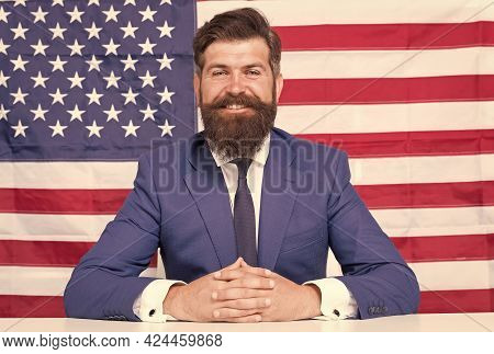 Our Flag Fills My Heart With Pride. Happy American Man Sit Usa Flag Background. Patriotic Flag Day.