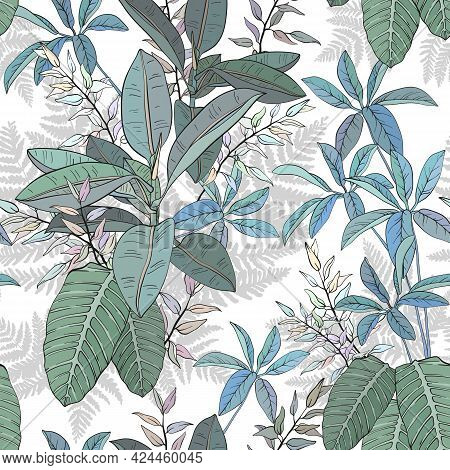 Ficus, Palm Leaves And Tropical Plants Seamless Pattern, Tropical Foliage, Branch, Greenery. Vector