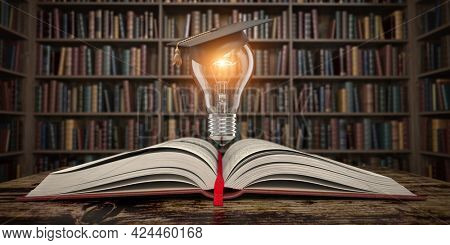 Education, knowledge and innovation concept background. Light bulb with mortar board on open book in vintage library. 3d illustration