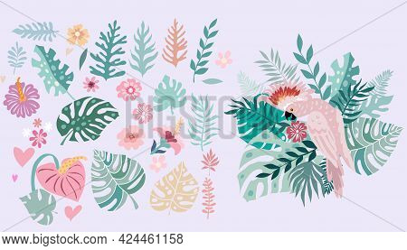 Beautiful  Big Set With Exotic Tropical Parrot Bird, Tropical Flowers, Colorful Exotic Leaves, Plant