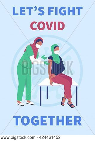 Vaccination Poster Flat Vector Template. Covid Protection. Muslim Women In Hospital. Brochure, Bookl