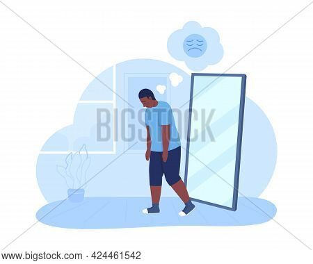 Overweight Sad Teenage Boy 2d Vector Isolated Illustration. Mental Health Issue. Teen With Depressin