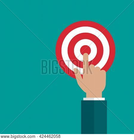 Businessman Hand With Red Archery Target. Achieve Goals Or Dreams Concept. Dartboard Vector Illustra