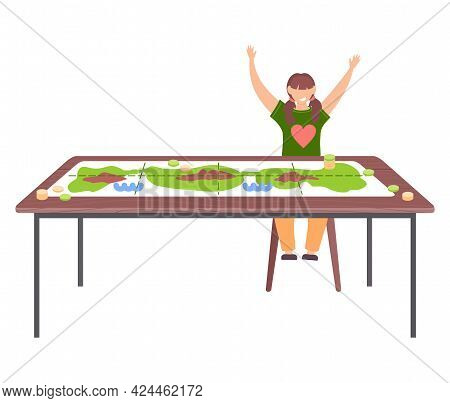 Girl Won Game Joyfully Raises Her Hands Up Near Table With Colored Board Game. Woman Has An Interest