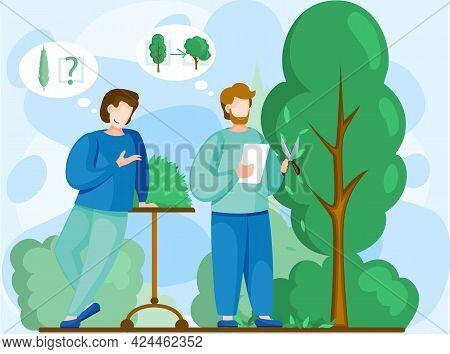Men Discuss Tree Planting Plan. Seasonal Gardening With Gardeners Working In Outdoor Garden, Growing