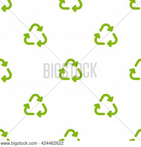 Seamless Eco Pattern. Three Arrows Eco Recycle. Reuse Ornament On White Background. Green Flat Vecto