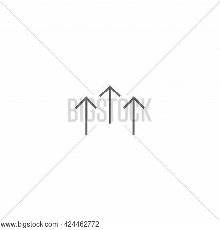 Three Black Thin Arrows Up Icon. Isolated On White. Upload Icon. Upgrade Sign. Growth Symbol. North