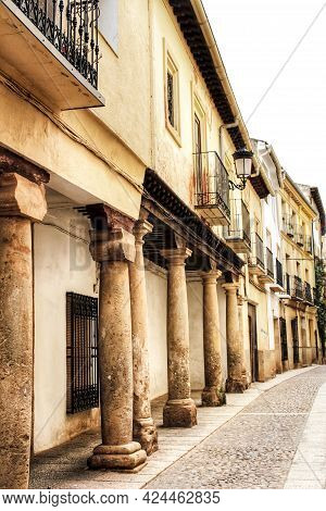Majestic And Old Stone Houses Of Renaissance Style Through The Streets Of Alcaraz, Castile-la Mancha