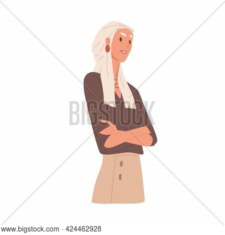 Portrait Of Arrogant Selfish Woman. Bossy Businesswoman Looking With Neglect And Feeling Superiority