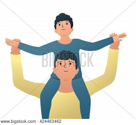 Vector Illustration Of Father And Son, Little Son Sitting On Dad's Shoulders, Happy Fatherhood Momen