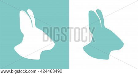 Cute Vector Illustration Of A Hand Drawn Bunny Head On A White And Pastel Turquoise Background, Card