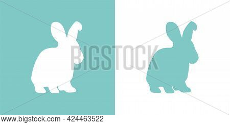 Cute Vector Illustration Of A Hand Drawn Rabbit On A White And Pastel Turquoise Background, Card Or