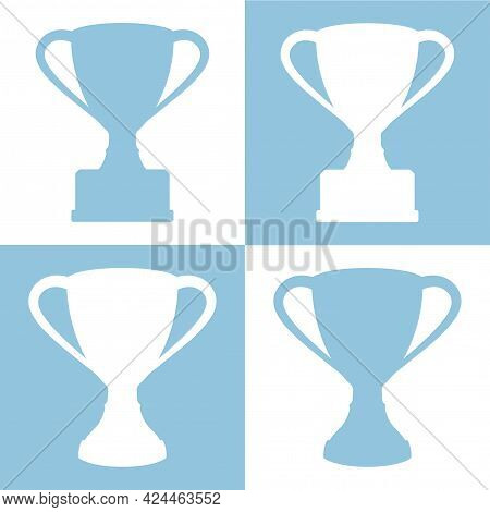 Vector Set Of Silhouettes Of Trophy Cups On White And Light Blue Background.
