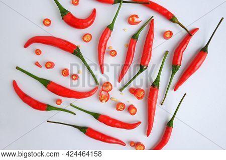 Fresh Chili With Sliced chili On White Background