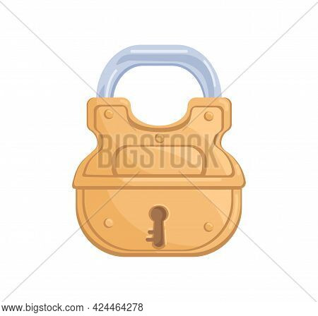 Glossy Brass Hanging Locked Padlock With Closed Metal Shackle And Keyhole. Shining Gold Mechanism As