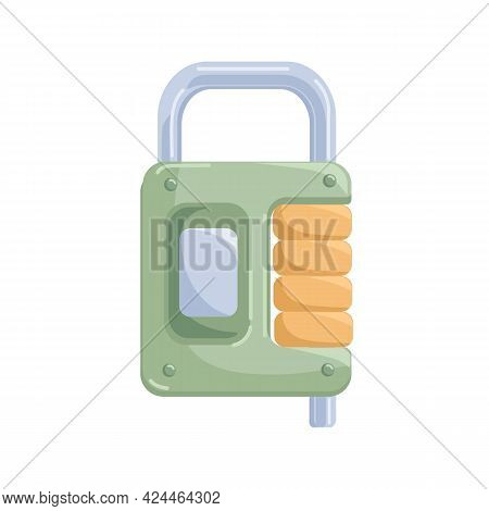 Metal Hanging Locked Padlock With Locking Pin Mechanism And Steel Shackle. Realistic Glossy Security