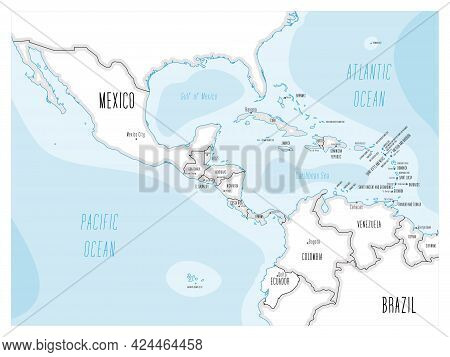 Political Map Of Central America And Caribbean. Black Outline Hand-drawn Cartoon Style Illustrated M