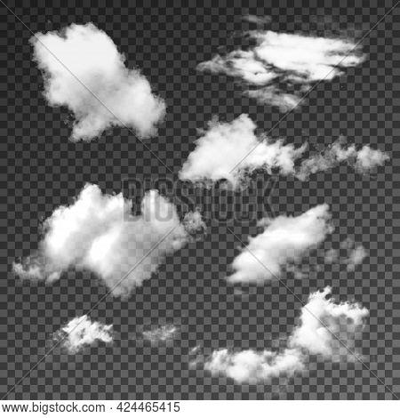 Realistic Transparent Different Cloud Set. Summer Sunny Weather Cloudscape Realistic Set Vector Illu