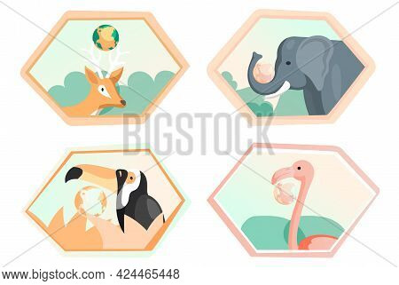 Set Of Illustrations About Eco System Of Earth. Eco Friendly, Nature Conservation, Environmental Pro