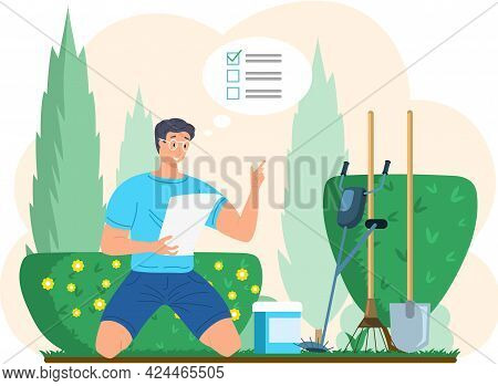 Gardener Young Male Character Sitting In Backyard With Green Bushes Holding Inventory List In Hands,