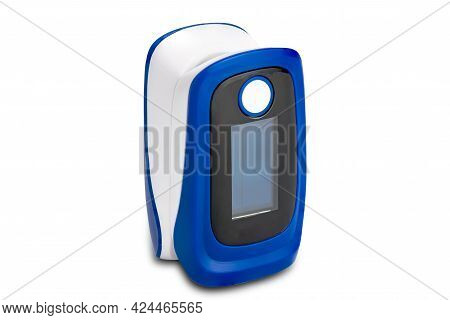 View Of Pulse Oximeter Isolated On White Background With Clipping Path. Pulse Oximeter, The Device F