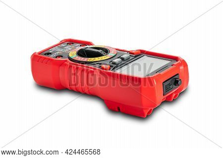 Side View Of Red Portable Digital Multimeters Or Multitester Isolated On White Background With Clipp