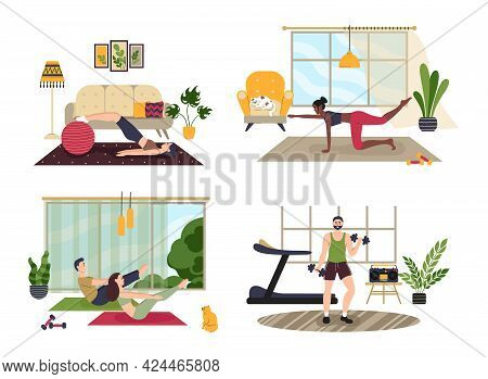 Male And Female Characters Sport Activities Set. People Doing Exercises. Men, Women, Families And Co