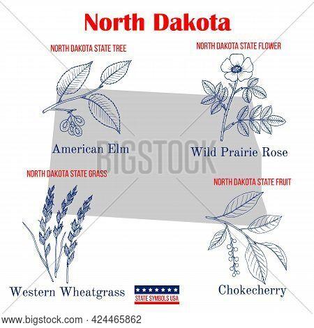 North Dakota. Set Of Usa Official State Symbols. Vector Hand Drawn Illustration