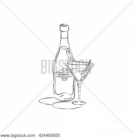 Bottle And Glass Martini Together In Hand Drawn Style. Beverage Outline Icon. Restaurant Illustratio