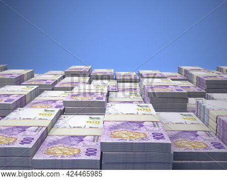 Money Of Argentina. Argentine Peso Bills. Ars Banknotes. 100 Pesos. Business, Finance, News Backgrou