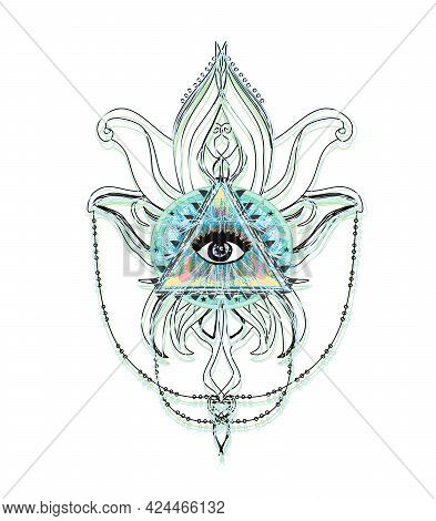 All Seeing Eye Inside Triangle Pyramid , Vector Illustration