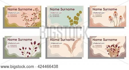 Set The Signature Template In The Email. Abstract Shapes, Flowers, And Leaves. Vector Illustration O
