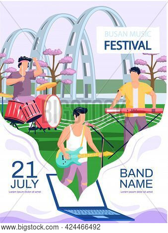 Open Air Concert In Outdoor Summer Music Festival In South Korean City Busan Natural Landscape Promo