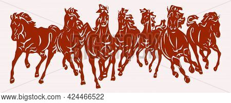 Sketch Of Indian Transportation Animal Horse Silhouette And Outline Editable Illustration