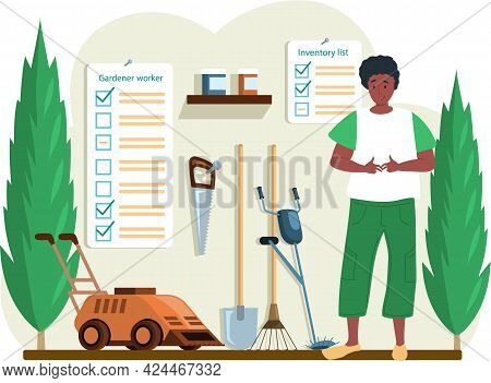 Gardener Young Male Character Standing In Barn With Garden Tools In Backyard With Green Bushes, Inve