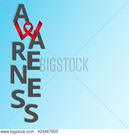 Awareness Poster With Space For Text On Blue Gradient Background. Awareness Lettering. Heartshaped R